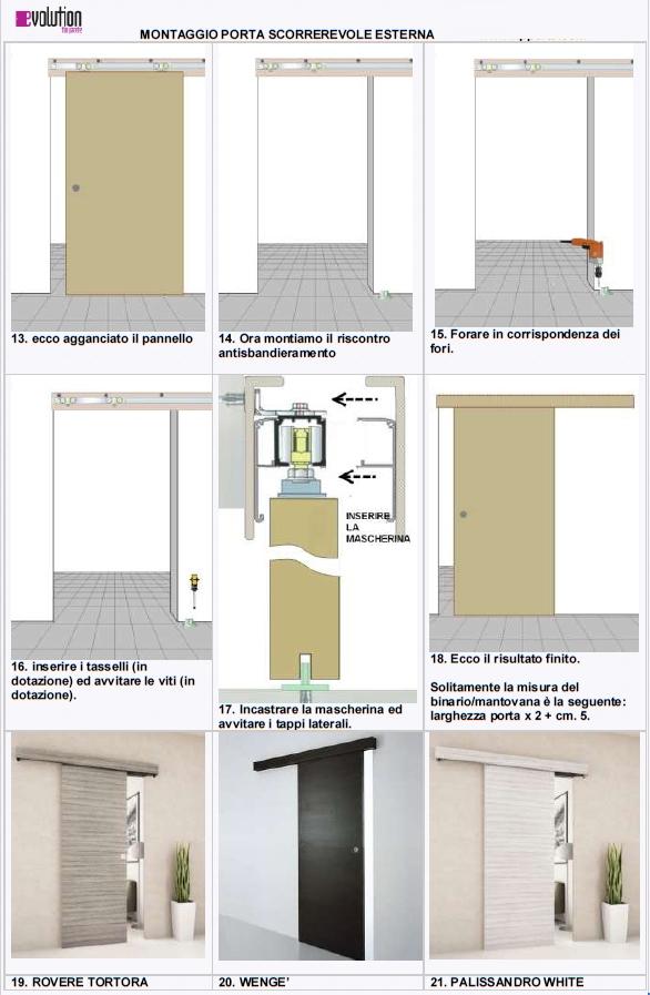Porta scorrevole esterno muro in noce weng ecc completa - Montaggio porta scorrevole ...