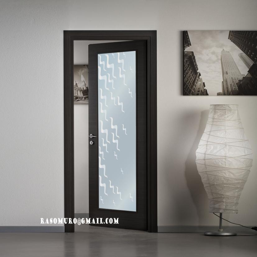 Porte interne rovere sbiancato finitura laminato spazzolato completa di vetro ebay - Porte interne con vetro ...