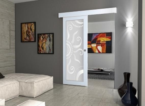 Porta scorrevole filomuro vetro a disegno ebay for Porta a libro bianca con vetro