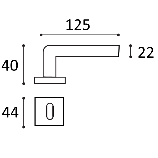 interne opaco per nero COPPIA quadra quadra nero Maniglia ...