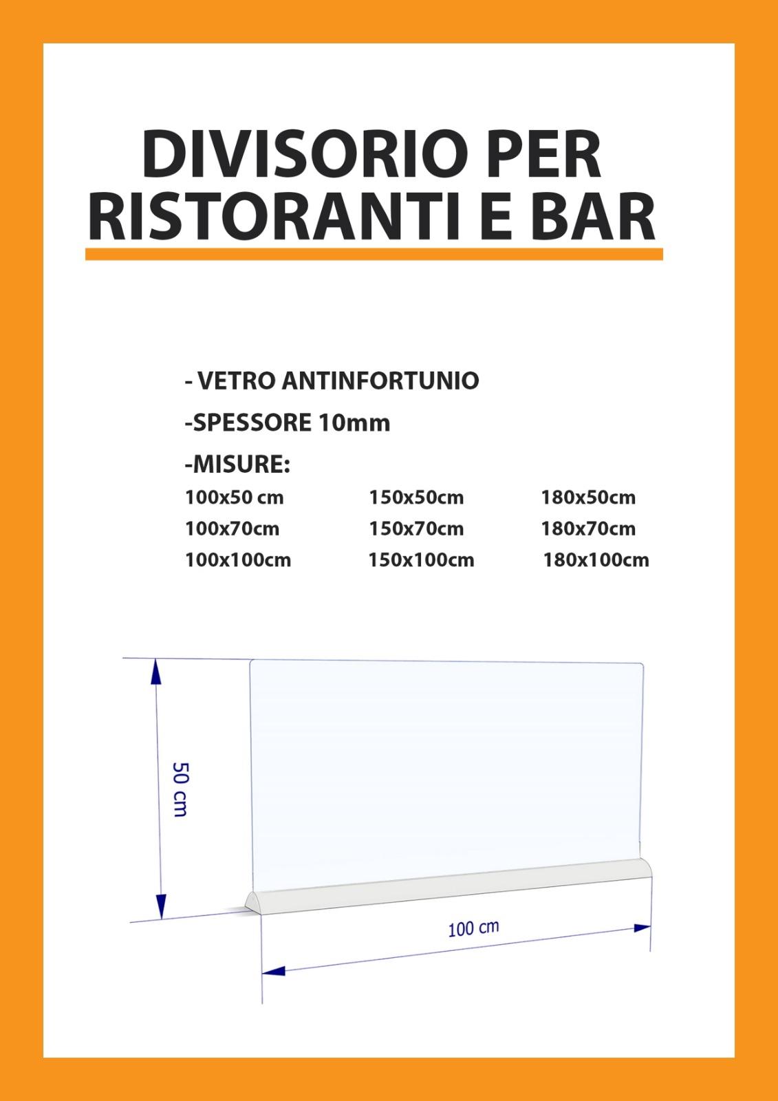 misure divisori per tavoli bar