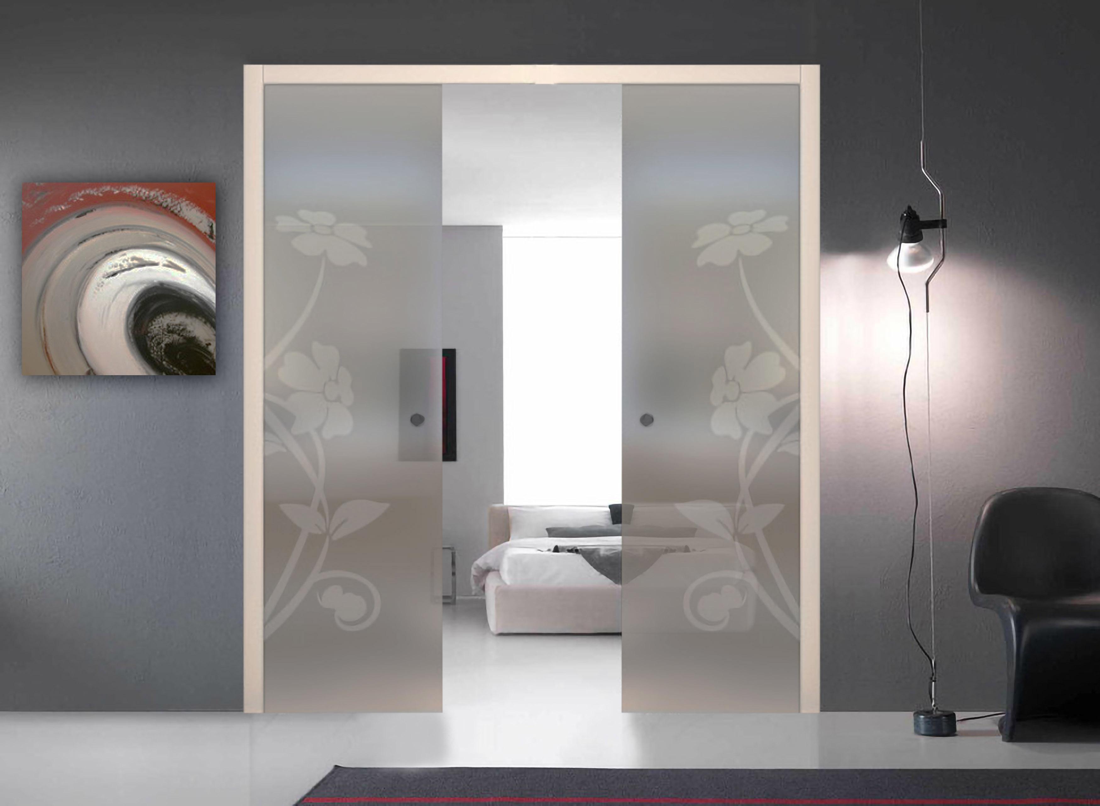 Porta Scrigno 60 Cm dettagli su porta scomparsa interna doppia anta vetro satinato righe  disegno personalizzato