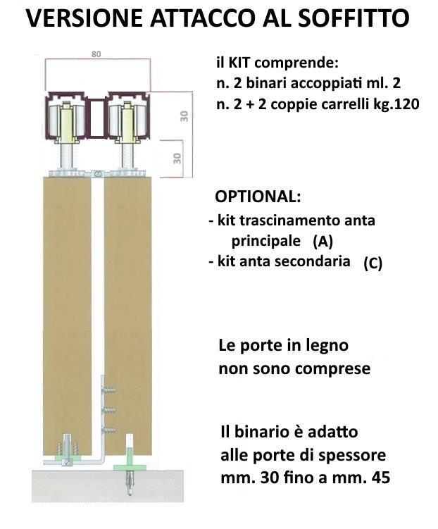 Kit Binari Per Ante Scorrevoli.Cm 200 Binario Duplex Kit Per Porta Doppia Anta Scorrevole Per