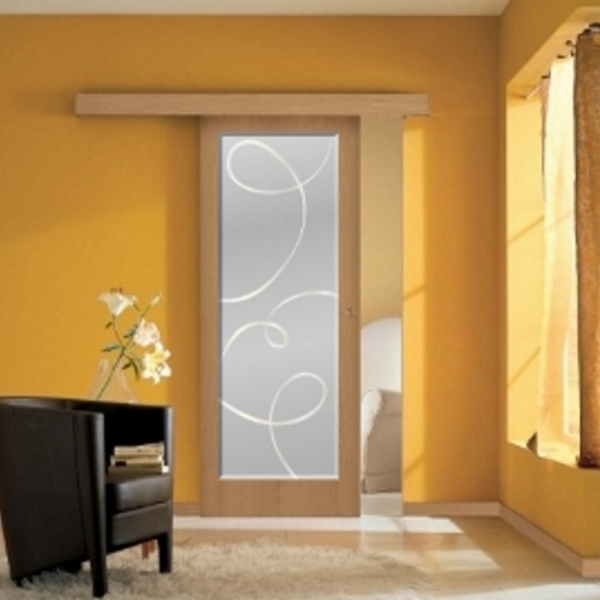 Porta scorrevole filomuro vetro a disegno ebay - Porta con vetro ...