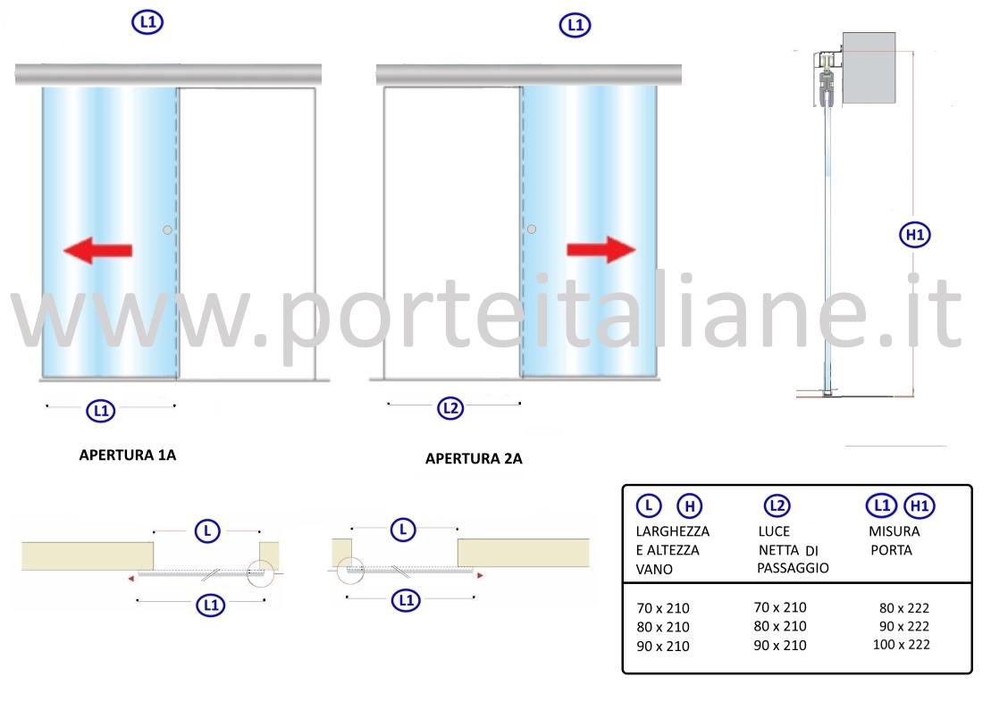 Dettagli su Porte in Vetro scorrevole esterna con binario COMPACT filomuro  80x210