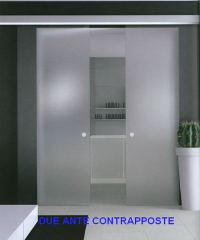 Porte Scorrevoli A Due Ante In Vetro.Sliding Glass Doors A Leaf And A Fixed Door 160x210 Ebay